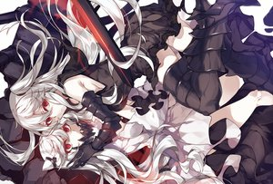 Rating: Safe Score: 141 Tags: 2girls aircraft_carrier_hime anthropomorphism armor dress hug kantai_collection kureaki_(exit) long_hair midway_hime red_eyes thighhighs white_hair User: Flandre93