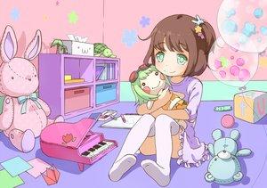 Rating: Safe Score: 76 Tags: animal book brown_hair bunny doll green_eyes gumi instrument neki_(wakiko) original paper piano teddy_bear thighhighs turtle vocaloid User: FormX