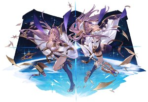 Rating: Safe Score: 51 Tags: 2girls breasts cangkong cleavage green_eyes hoodie long_hair original purple_hair staff thighhighs twins water User: BattlequeenYume