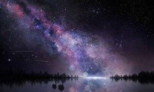 Rating: Safe Score: 99 Tags: animal bird forest night original polychromatic reflection scenic stars teataster tree water User: mattiasc02