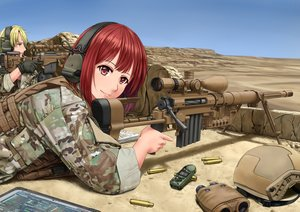Rating: Safe Score: 63 Tags: blonde_hair female gun jpc male military red_hair tagme uniform weapon User: luckyluna