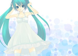 Rating: Safe Score: 41 Tags: dress hatsune_miku thighhighs vocaloid User: HawthorneKitty