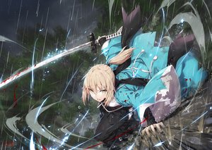 Rating: Safe Score: 107 Tags: blonde_hair blood fate/grand_order fate_(series) gabiran japanese_clothes okita_souji orange_eyes ponytail rain signed sword water weapon User: Nepcoheart