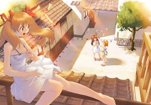 Rating: Safe Score: 58 Tags: barefoot blonde_hair breasts brown_hair bubbles cleavage dress long_hair ribbons short_hair summer_dress tagme_(artist) tree twintails User: Oyashiro-sama