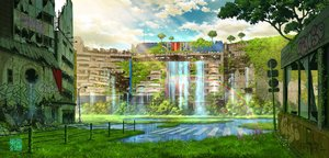Rating: Safe Score: 85 Tags: building city clouds graffiti grass nobody original rainbow ruins scenic signed sky tokyogenso tree water waterfall watermark User: otaku_emmy
