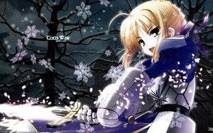Rating: Safe Score: 11 Tags: artoria_pendragon_(all) fate_(series) fate/stay_night saber snow sword weapon User: Oyashiro-sama