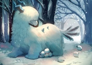 Rating: Safe Score: 47 Tags: animal_ears feathers forest horns manino_(mofuritaionaka) nobody original signed snow tree User: otaku_emmy