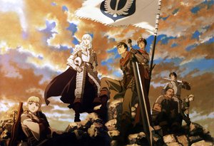 Rating: Safe Score: 37 Tags: armor berserk blue_eyes brown_eyes brown_hair cape caska clouds griffith guts judeau long_hair male pippin rickert short_hair sword weapon white_hair User: ssagwp