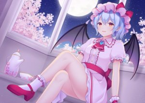 Rating: Safe Score: 32 Tags: blue_hair cherry_blossoms dress flowers moon night pointed_ears red_eyes remilia_scarlet sky socks stars touhou vampire wings wristwear yamayu User: RyuZU