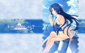 Rating: Questionable Score: 88 Tags: abhar bikini blue_eyes blue_hair blush clouds deep_blue_sky_&_pure_white_wings erect_nipples koga_sayoko long_hair misaki_kurehito ribbons shorts sky swimsuit water User: rargy