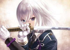 Rating: Safe Score: 103 Tags: all_male anthropomorphism blue_eyes capriccio close gloves honebami_toshiro katana male short_hair signed suit sword tie touken_ranbu weapon white_hair User: RyuZU