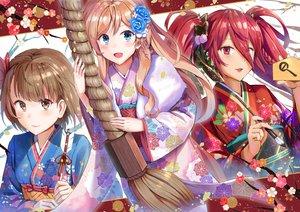 Rating: Safe Score: 39 Tags: aliasing aqua_eyes blush braids brown_eyes brown_hair flowers japanese_clothes kimono long_hair qian_wu_atai red_eyes red_hair shrine twintails User: RyuZU