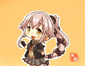 Rating: Safe Score: 11 Tags: anthropomorphism blush chibi gloves kantai_collection long_hair orange pink_hair ponytail skirt taisa_(kari) yellow_eyes yura_(kancolle) User: RyuZU