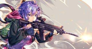 Rating: Safe Score: 56 Tags: ajishio cropped gloves gun hoodie purple_eyes purple_hair vocaloid voiceroid weapon yuzuki_yukari User: BattlequeenYume