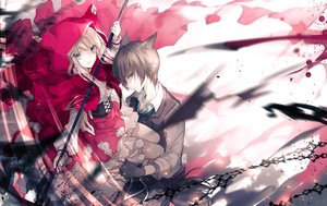 Rating: Safe Score: 55 Tags: anthropomorphism big_bad_wolf blonde_hair blue_eyes brown_eyes brown_hair cape gloves hoodie little_red_riding_hood long_hair male original ra-bit red_riding_hood short_hair spear weapon User: RyuZU
