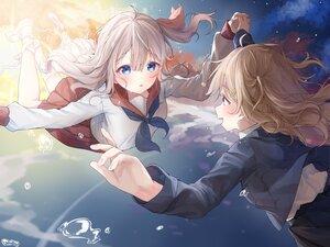 Rating: Safe Score: 38 Tags: 2girls blue_eyes brown_hair clouds gray_hair long_hair original riri_(ri0177) school_uniform skirt sky User: BattlequeenYume