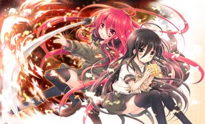 Rating: Safe Score: 78 Tags: alastor black_hair brown_eyes fire food long_hair red_eyes red_hair school_uniform shakugan_no_shana shana skirt sword tachitsu_teto thighhighs weapon zettai_ryouiki User: luckyluna