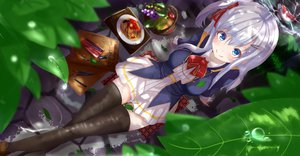 Rating: Safe Score: 130 Tags: beniyosweet009 food leaves original thighhighs User: FormX