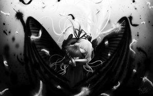 Rating: Safe Score: 41 Tags: air feathers kamio_misuzu kunisaki_yukito long_hair monochrome wings User: mikucchi