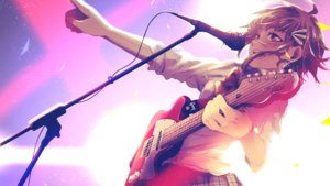 Rating: Safe Score: 63 Tags: guitar gumi instrument microphone non7 short_hair vocaloid User: FormX