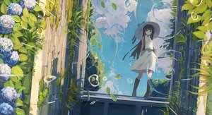 Rating: Safe Score: 167 Tags: black_eyes black_hair boots clouds flowers hat long_hair nodata original rain reflection skirt sky water User: BattlequeenYume