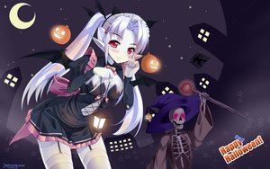 Rating: Safe Score: 130 Tags: blush breasts cleavage halloween hat long_hair natsumiya_yuzu pointed_ears red_eyes signed staff stockings tagme thighhighs twintails white_hair wings witch_hat User: Wiresetc