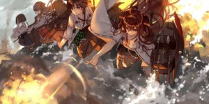 Rating: Safe Score: 20 Tags: anthropomorphism breasts brown_eyes brown_hair glasses group haruna_(kancolle) hiei_(kancolle) japanese_clothes jpeg_artifacts kantai_collection kirishima_(kancolle) kongou_(kancolle) long_hair short_hair skirt tagme_(artist) User: RyuZU