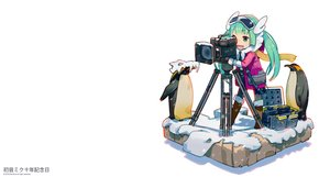 Rating: Safe Score: 17 Tags: animal boots camera dan-evan hatsune_miku long_hair penguin scarf twintails vocaloid watermark white User: RyuZU