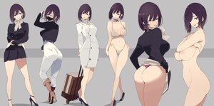 Rating: Questionable Score: 102 Tags: ass bikini breasts cropped mask mikoto_akemi nipples nude original purple_hair short_hair skirt_lift suit swimsuit User: BattlequeenYume