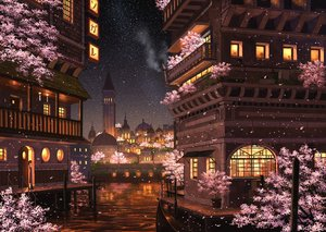 Rating: Safe Score: 83 Tags: boat building cherry_blossoms city flowers night original pei_(sumurai) petals scenic stars water User: FormX
