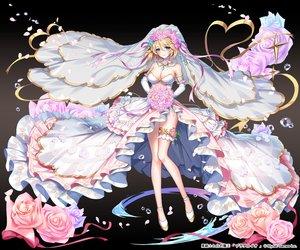 Rating: Safe Score: 135 Tags: applecaramel_(acaramel) blonde_hair breasts cleavage dress elbow_gloves flowers garter gloves gradient green_eyes headdress kurokishi_to_shiro_no_maou petals ribbons rose short_hair water wedding_attire User: otaku_emmy