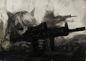 Rating: Safe Score: 136 Tags: animal_ears catgirl gun lm7_(op-center) monochrome original weapon User: PAIIS