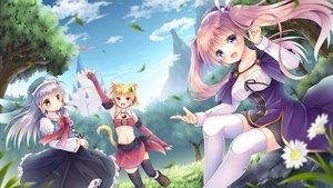 Rating: Safe Score: 49 Tags: animal_ears bell blonde_hair blue_eyes blush building cape catgirl clouds dress flowers grass gray_hair hoodie original purple_eyes purple_hair sky tail thighhighs tree twintails yellow_eyes yorarry User: BattlequeenYume