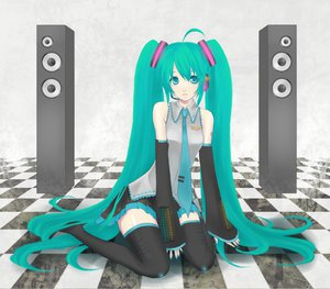 Rating: Safe Score: 27 Tags: hatsune_miku headphones ladybird8n long_hair vocaloid User: Tensa