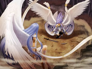 Rating: Safe Score: 32 Tags: 2girls angel feena long_hair purple_hair reah skirt sword twins weapon wings ys ys_origin User: Oyashiro-sama