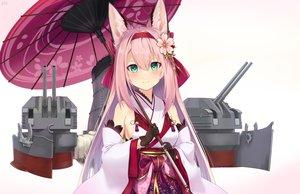 Rating: Safe Score: 49 Tags: animal_ears azur_lane foxgirl gloves green_eyes hanazuki_(azur_lane) japanese_clothes kimono kin'iro_dojo long_hair mechagirl pink_hair signed umbrella weapon User: Nepcoheart