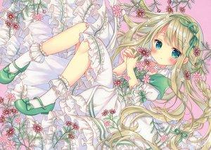 Rating: Safe Score: 47 Tags: aqua_eyes blonde_hair blush braids dress flowers loli lolita_fashion long_hair original puu_(kari---ume) socks User: BattlequeenYume