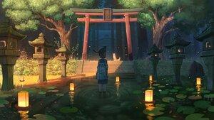 Rating: Safe Score: 42 Tags: animal cat forest original pasoputi scenic school_uniform shade shrine torii tree water User: FormX