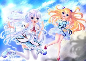 Rating: Safe Score: 25 Tags: 2girls aizawa_hikaru aizawa_lei aqua_eyes clouds dress long_hair microsoft orange_hair os-tan ribbons skirt sky sweetcloud thighhighs white_hair User: gnarf1975