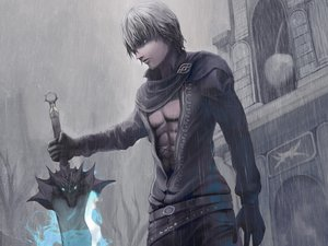 Rating: Safe Score: 92 Tags: blue_eyes gloves gray_hair maningusu rain sword tagme weapon wet User: BoobMaster