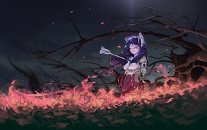 Rating: Safe Score: 60 Tags: blood blue_hair fire horns japanese_clothes karasu-san_(syh3iua83) long_hair miko original petals sword techgirl tree weapon User: RyuZU
