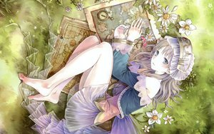 Rating: Safe Score: 91 Tags: atelier_totori barefoot brown_hair dress flowers grass hat kishida_mel long_hair tagme totooria_helmold User: dryads99864