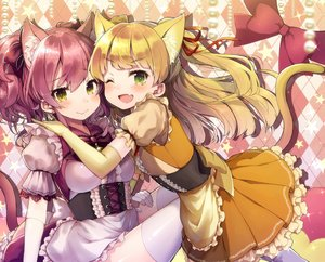 Rating: Safe Score: 55 Tags: 2girls animal_ears blonde_hair blush bow breasts catgirl dress elbow_gloves fang gloves green_eyes idolmaster idolmaster_cinderella_girls jougasaki_mika jougasaki_rika loli long_hair purple_hair ribbons short_hair stars tail thighhighs vsi0v wink yellow_eyes User: RyuZU