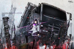 Rating: Safe Score: 107 Tags: akemi_homura black_hair car gun long_hair madu mahou_shoujo_madoka_magica purple_eyes weapon User: FormX