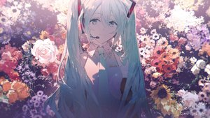 Rating: Safe Score: 38 Tags: aqua_eyes aqua_hair flowers hatsune_miku long_hair rella signed tie twintails vocaloid User: luckyluna
