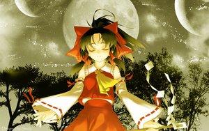 Rating: Safe Score: 42 Tags: black_hair hakurei_reimu japanese_clothes jpeg_artifacts miko moon ribbons rokuwata_tomoe touhou tree User: Oyashiro-sama