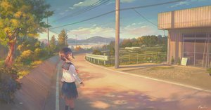 Rating: Safe Score: 22 Tags: brown_hair building clouds feel_(nasitaki) kneehighs landscape original red_eyes scenic seifuku short_hair signed skirt tree User: luckyluna
