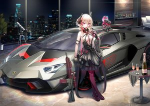 Rating: Safe Score: 84 Tags: anthropomorphism breasts building car city dancing_wolf dress drink fang flowers girls_frontline gloves gun horns m4_sopmod_ii_(girls_frontline) night pantyhose sky weapon User: RyuZU