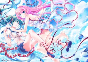 Rating: Safe Score: 20 Tags: 2girls hatsune_miku long_hair megurine_luka signed tagme_(artist) twintails underwater vocaloid water User: luckyluna