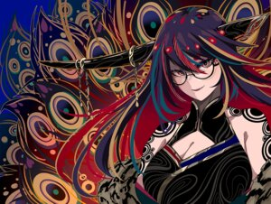 Rating: Safe Score: 42 Tags: berryverrine breasts chinese_clothes chinese_dress cleavage dress glasses horns original polychromatic purple_hair red_hair User: boomshadow
